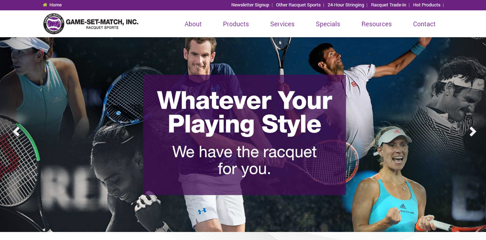 Website Redesign: Game, Set, Match Inc.